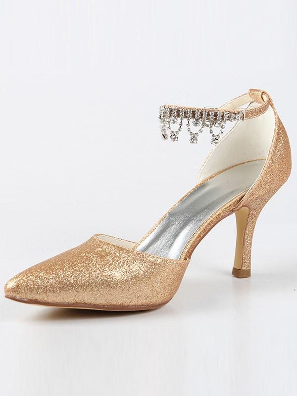 Mary Jane Closed Toe Cone Heel With Rhinestone High Heels