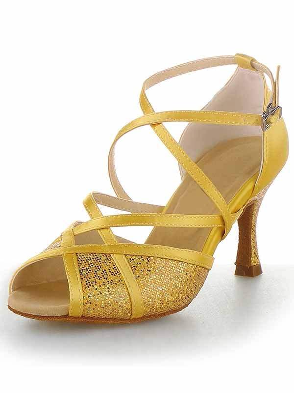Satin Peep Toe Stiletto Heel Buckle Dance Shoes