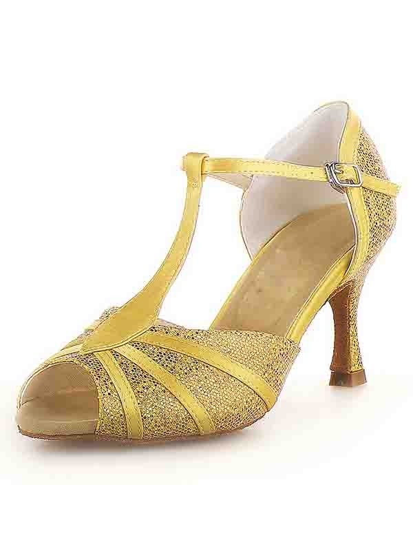 Peep Toe Stiletto Heel Satin Buckle Sparkling Glitter Dance Shoes