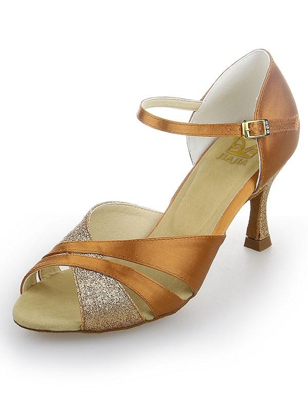 Peep Toe Satin Stiletto Heel Sparkling Glitter Dance Shoes