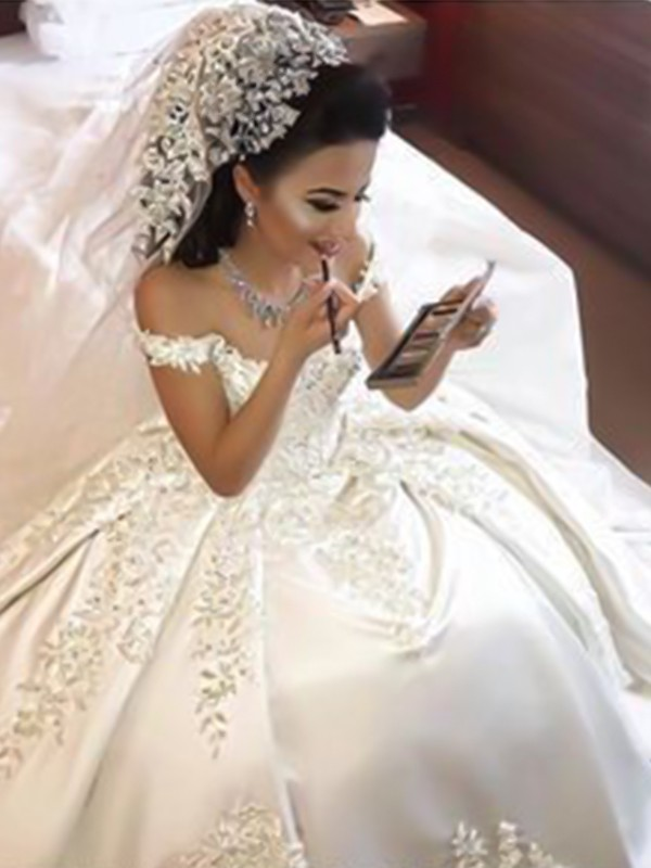 Ball Gown Off-the-Shoulder Sleeveless Brush Train White Satin Wedding Dresses