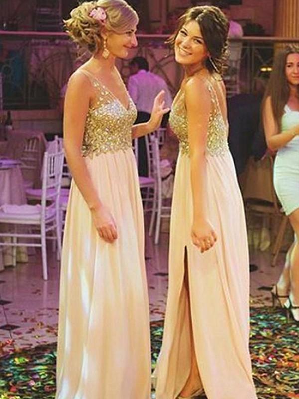 A-Line V-neck Sleeveless Floor-Length Pearl Pink Sequin Chiffon Bridesmaid Dresses