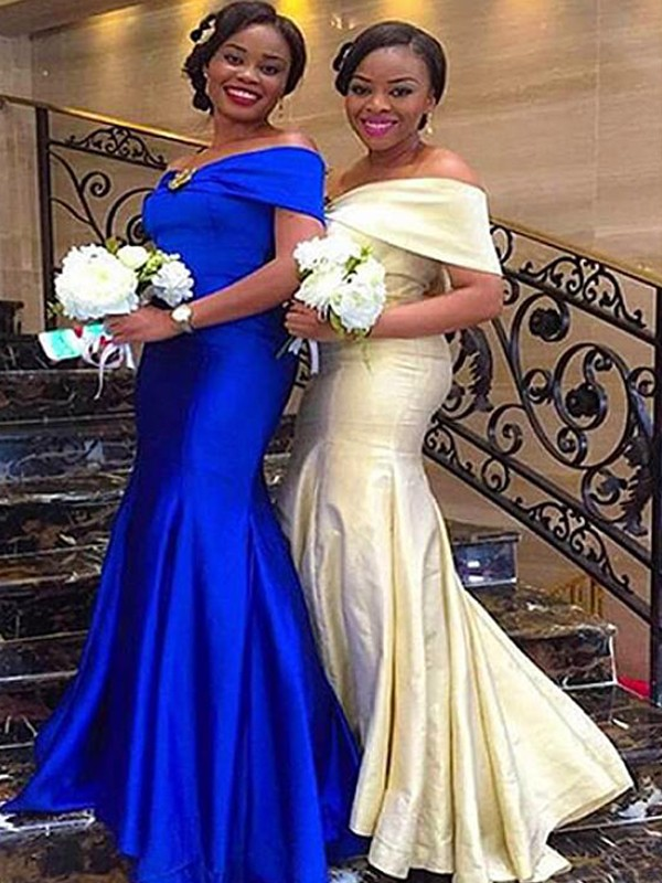 Mermaid Floor-Length Ruffles Satin Bridesmaid Dresses