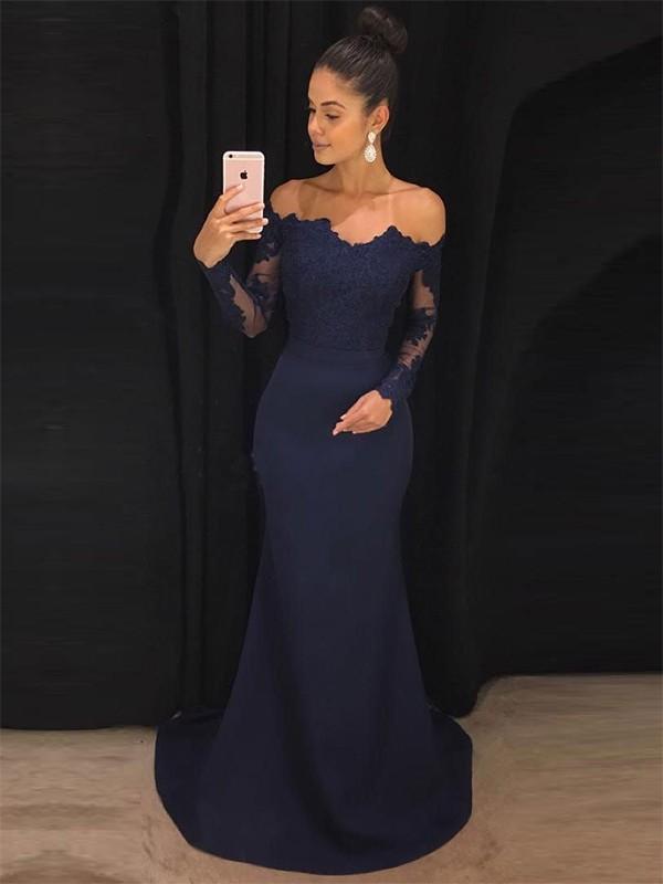 Mermaid Off-the-Shoulder Brush Train Lace Satin Prom Dresses