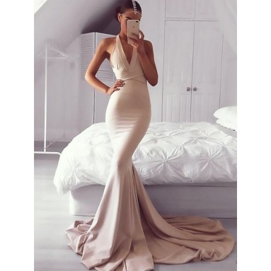 Mermaid V-neck Brush Train Pearl Pink Prom Dresses