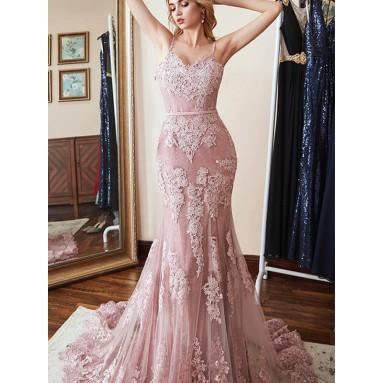 Pink Mermaid Spaghetti Straps Brush Train Applique Lace Evening Dresses