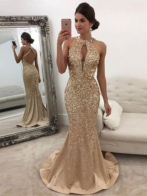 Mermaid Halter Brush Train Gold Prom Dresses