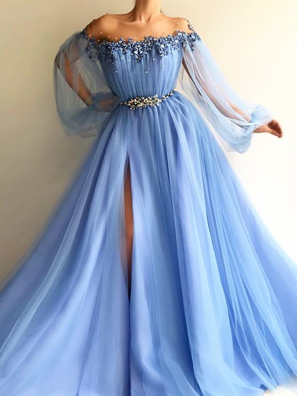 Off-the-Shoulder Blue Beading Tulle Floor-Length Prom Dresses