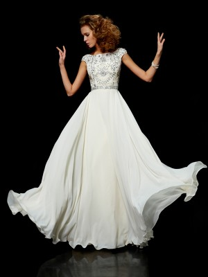 Short Sleeves Ball Gown High Neck Floor-Length Ivory Prom Dresses
