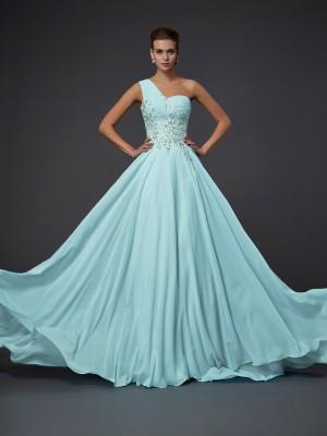 Chiffon A-Line Floor-Length One-Shoulder Sage Prom Dresses
