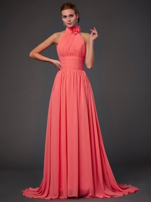 A-Line Halter Brush Train Watermelon Bridesmaid Dresses