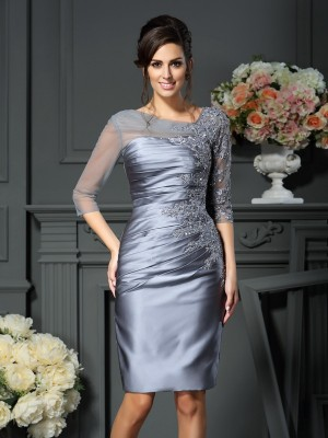 Sheath Scoop Knee-Length Silver Mother of the Bride Dresses