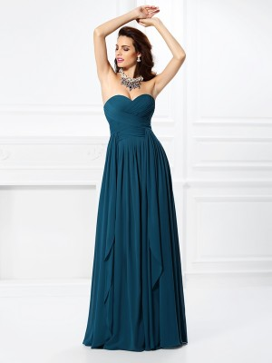 A-Line Sweetheart Long Hunter Green Prom Dresses with Ruffles