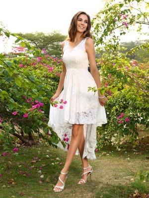 White V-neck Lace Asymmetrical Bridesmaid Dresses