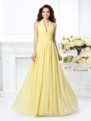 A-Line Chiffon Halter Floor-Length Prom Dresses with Pleats