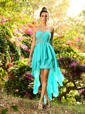 A-Line Sweetheart Asymmetrical Blue Bridesmaid Dresses