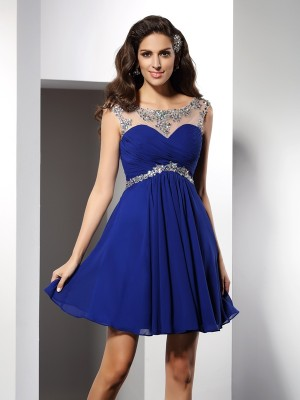 Scoop Short/Mini Royal Blue Homecoming Dresses with Beading