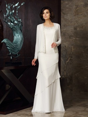 Scoop Floor-Length Ivory Mother of the Bride Dresses with Beading