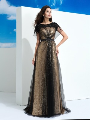 A-Line Net Short Sleeves Sheer Neck Floor-Length Black Prom Dresses
