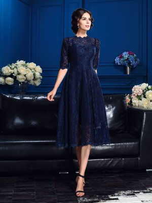 Half Sleeves Jewel Knee-Length Dark Navy Mother of the Bride Dresses