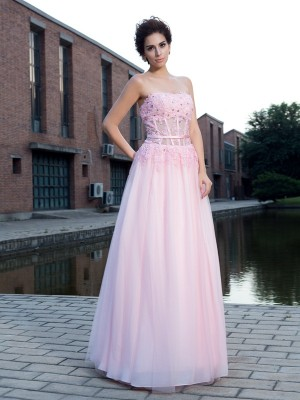 Net A-Line Floor-Length Straps Pink Prom Dresses