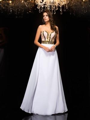 White Sweetheart Chiffon Floor-Length Prom Dresses