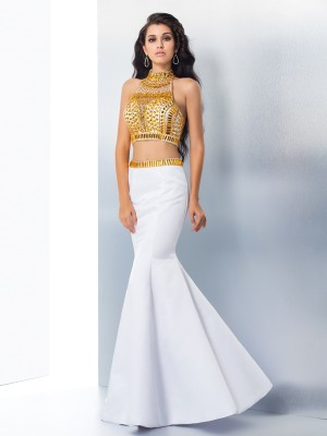 High Neck Floor-Length White Prom Dresses with Beading