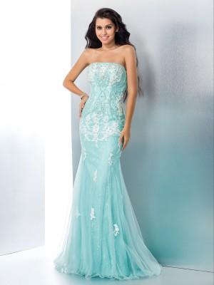Mermaid Lace Strapless Brush Train Light Sky Blue Prom Dresses