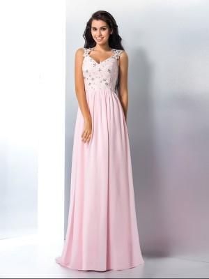 A-Line V-neck Brush Train Pink Prom Dresses with Applique