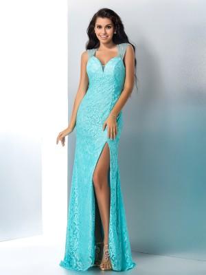 Lace Mermaid Floor-Length Sweetheart Blue Prom Dresses