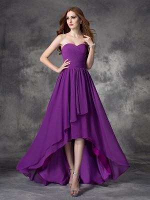 Chiffon Sweetheart Asymmetrical Grape Bridesmaid Dresses