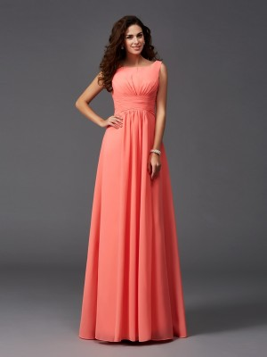A-Line Chiffon Scoop Brush Train Watermelon Bridesmaid Dresses