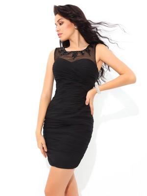 Sheath Sheer Neck Short/Mini Black Homecoming Dresses
