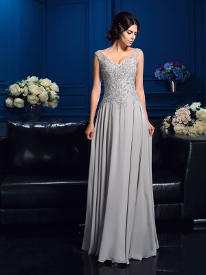 Silver V-neck Floor-Length Mother of the Bride Dresses with Beading