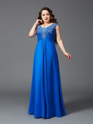 A-Line Straps Floor-Length Royal Blue Prom Dresses with Beading