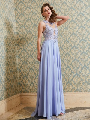 A-Line Chiffon Scoop Floor-Length Prom Dresses with Applique