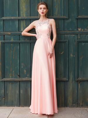Satin Scoop Floor-Length Pink Prom Dresses