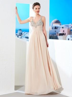 Champagne Spaghetti Straps Chiffon Floor-Length Prom Dresses