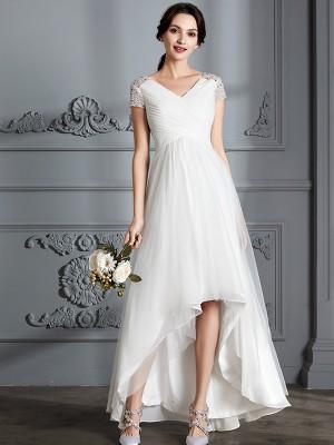 A-Line Tulle Short Sleeves V-neck Asymmetrical Ivory Wedding Dresses