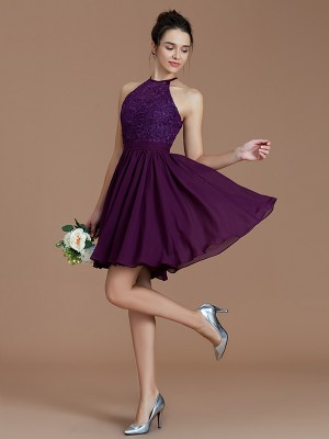 Short/Mini Grape Halter Bridesmaid Dresses with Lace