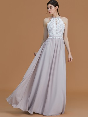 A-Line Halter Floor-Length Grey Bridesmaid Dresses with Lace