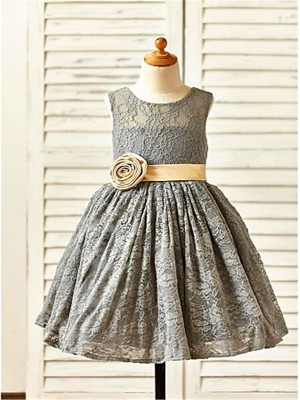 Lace Scoop Tea-Length Grey Flower Girl Dresses