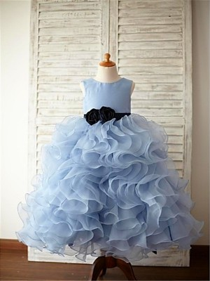 Ball Gown Scoop Floor-Length Light Sky Blue Flower Girl Dresses