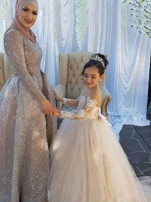 Ball Gown Brush Train Ivory Tulle Flower Girl Dresses