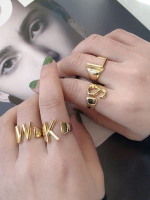 Pretty S925 Silver With Letters Adjustable Rings