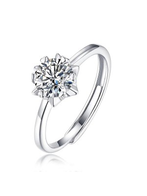 Graceful 925 Sterling Silver With Mosanite Adjustable Wedding Rings