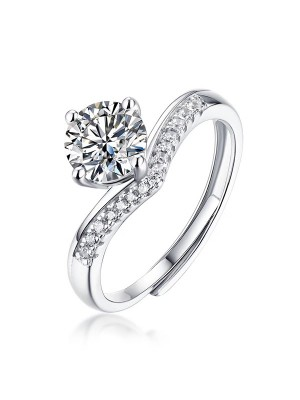 Beautiful S925 Silver With Mosanite Adjustable Wedding Rings