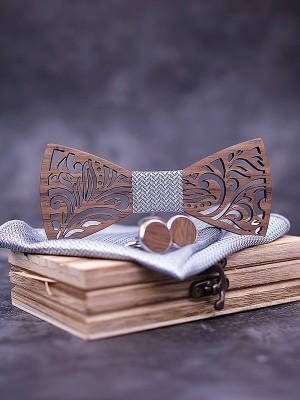 Vintage Wood Bow Tie Cufflinks Pocket Square