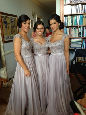 Silver V-neck Chiffon Floor-Length Bridesmaid Dresses