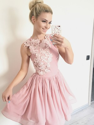 Pink Short Chiffon Homecoming Dresses